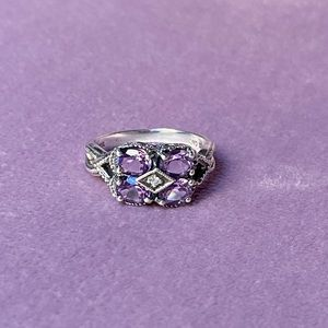Sterling, amethyst and diamond ring, size 6.5